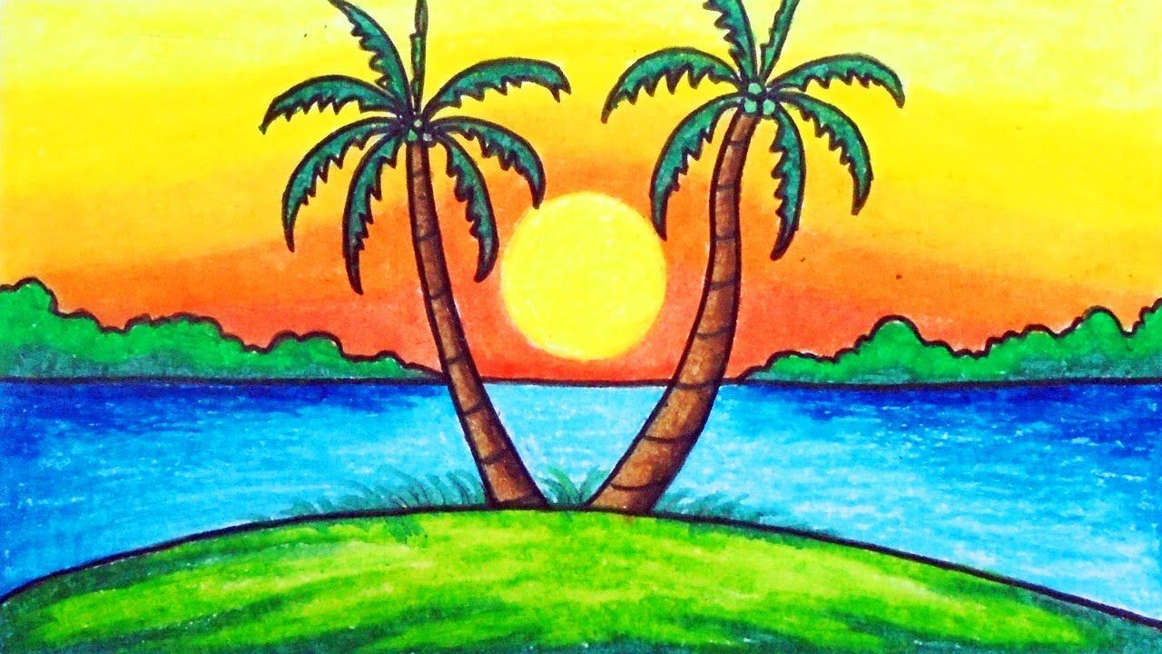 How To Draw Easy Scenery For Kids Drawing Sunset Scenery Step By