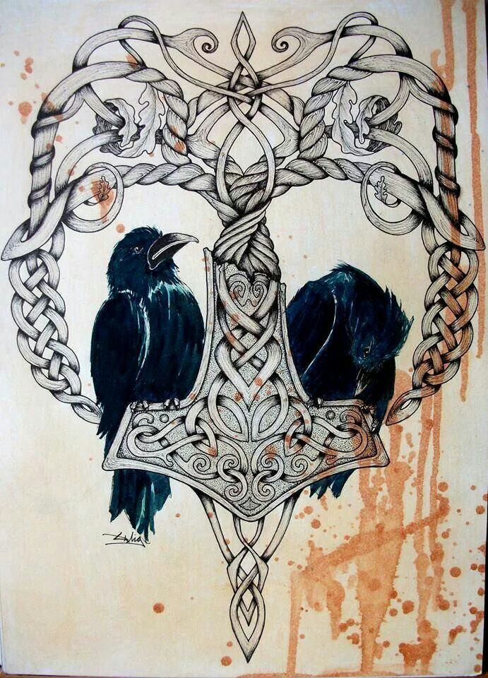 a84a7aa8bdf6 Thors hammer and Odin's ravens, an Anthropomorphism of memory and thought.