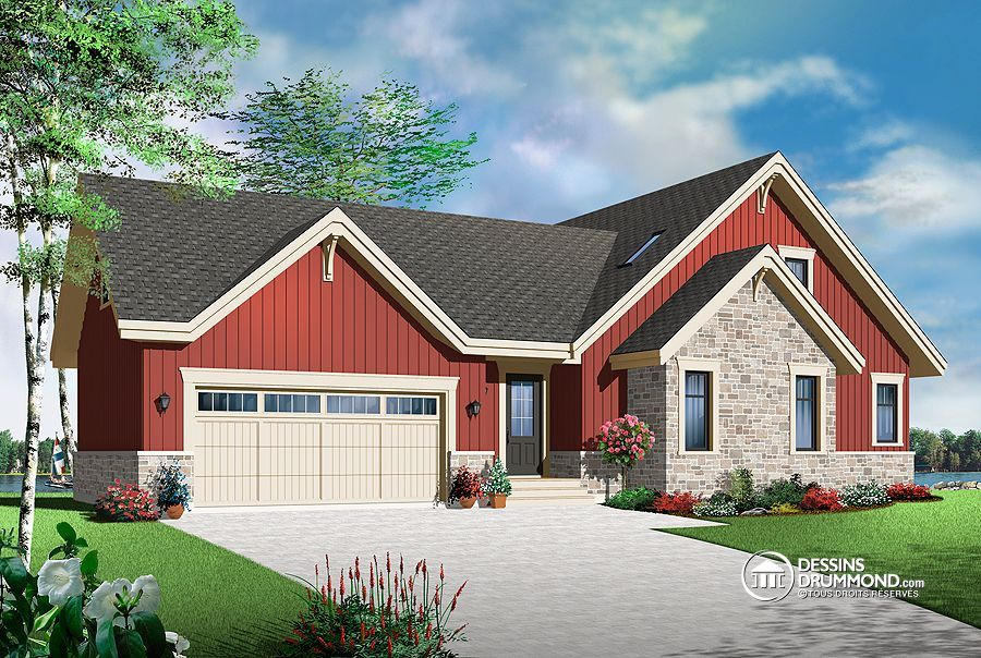 D tail du plan de maison unifamiliale w3945 v1 dream house for Maison eplans