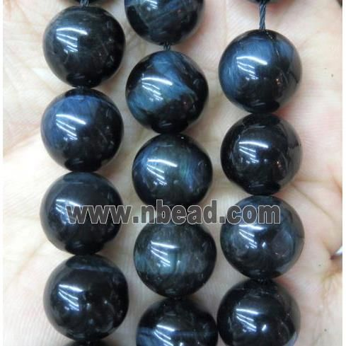 round tiger eye stone bead, dyed ink-blue (GAM60-10MM) approx 10mm dia