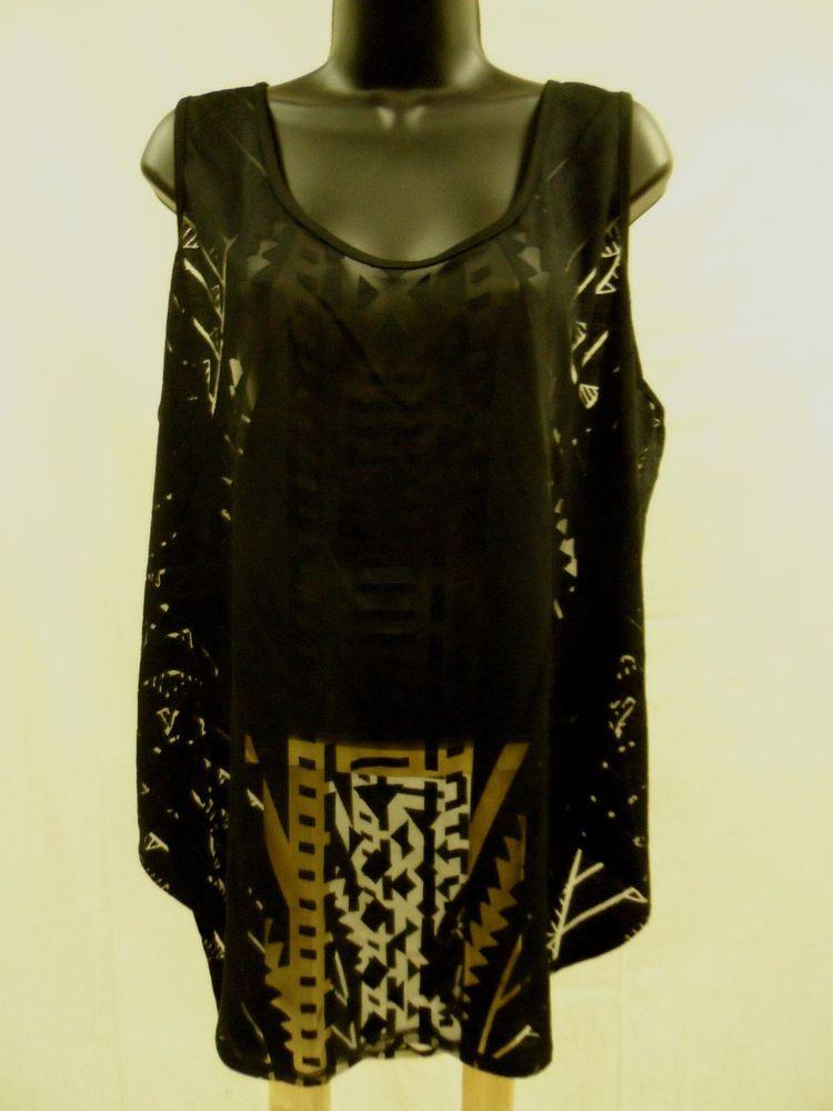 Size XXL 1X  Top STRETCH Cami BURNOUT Tank HI-LO Shirt Trendy Shell Sexy   NWT…