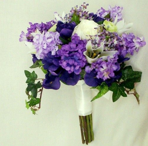 Wedding Bouquet Bridal Purple Lilacs Tulips Irises Silk Flowers