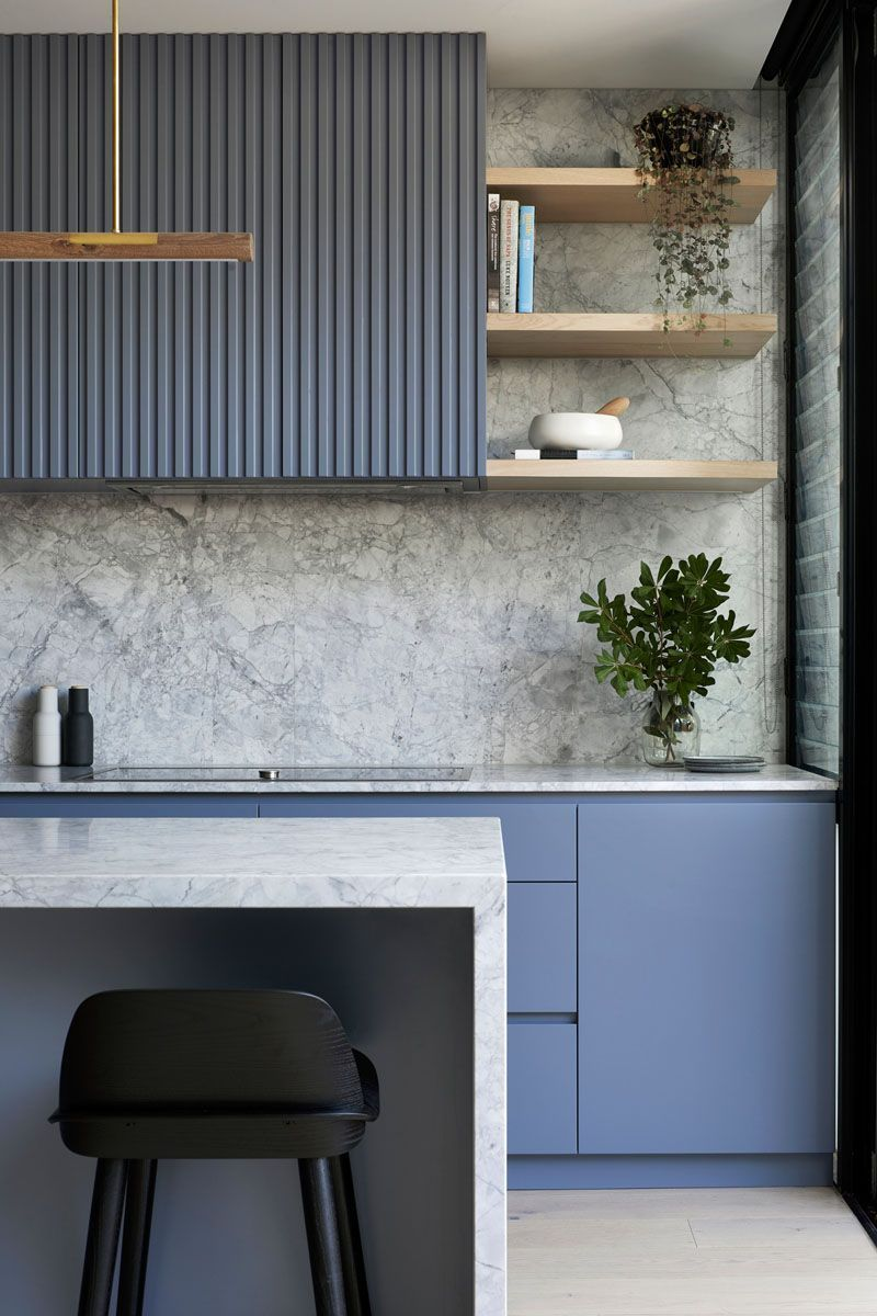 A Dusty Blue Kitchen Sets The Tone In This House R