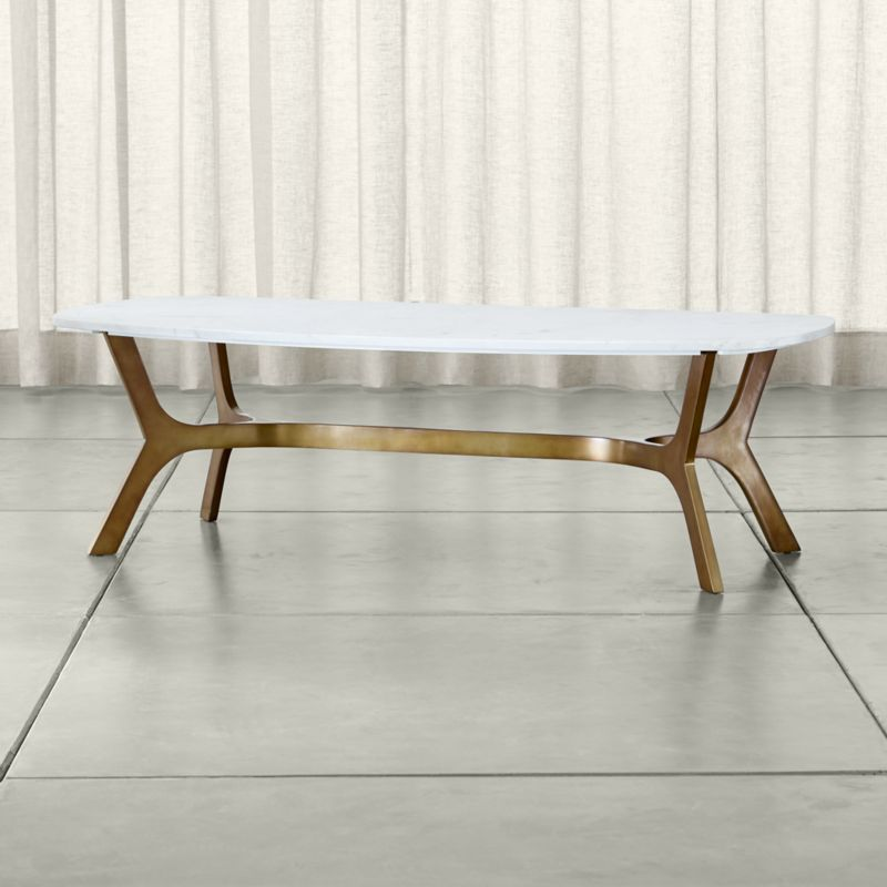 Shop Elke Rectangular Marble Coffee Table With Brass Base. The Elke Round  Coffee Table With White Marble Top Is A Crate And Barrel Exclusive.