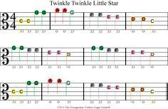 Color Coded Free Viola Sheet Music For Twinkle Twinkle Little Star