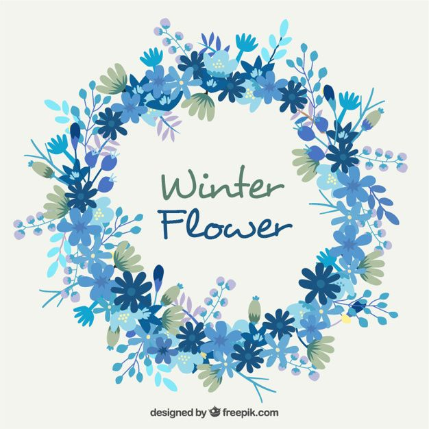 Pretty Floral Wreath In Blue Tones Free Vector 2018 Pinterest