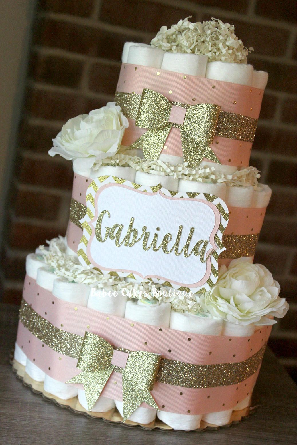 3 Tier Blush Pink And Champagne Gold Diaper Cake Baby Girl