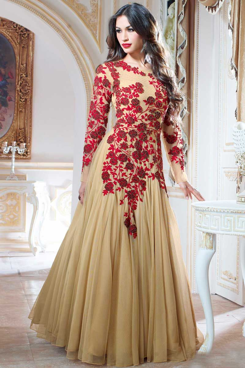 Beige Designer Indian Evening Party Gown In Net