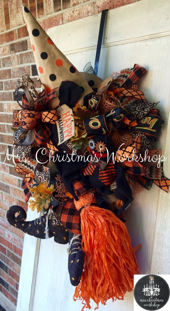 Christmas in July sale Halloween wreath by MrsChristmasWorkshop