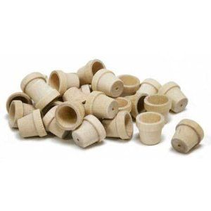 """Unfinished Wood Miniature Flower Pots - 64 Total (8 Packages of 8) - 5/8"""" X 9/16"""" -"""