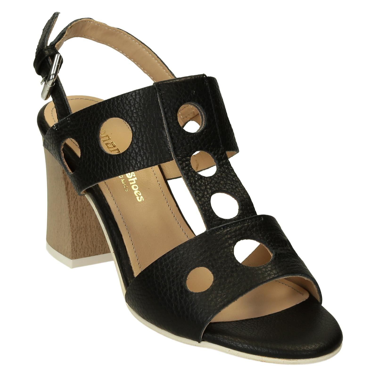 High heels black deer leather sandals handmade in Italy