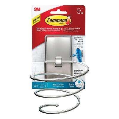 Satin Nickel Hair Dryer Holder With Water Resistant Strip 1 Holder 2 Water Resistan Hair