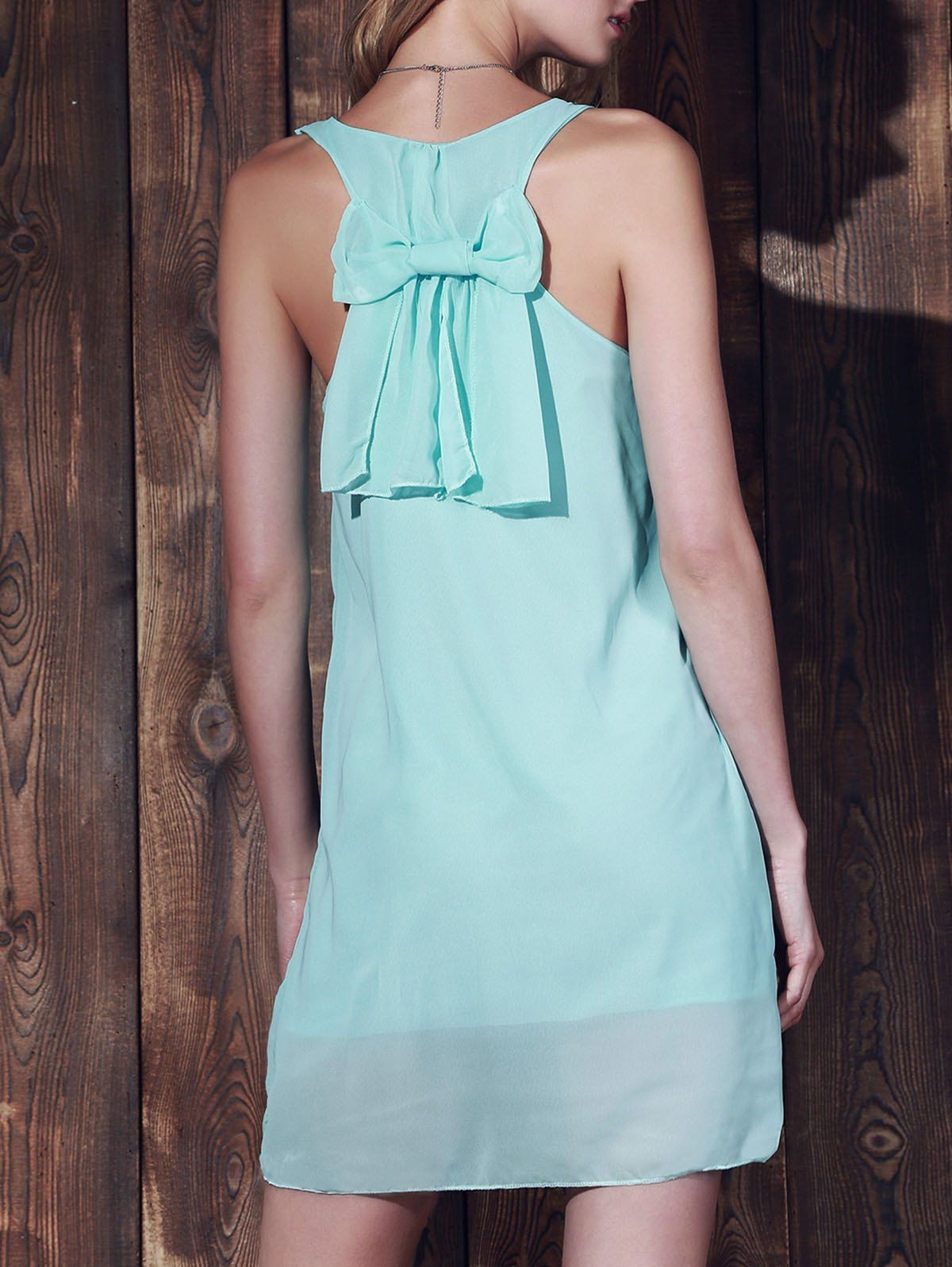 Solid Color Bowknot Embellished Stylish Scoop Neck Sleeveless Dress For Women in Mint Green | Sammydress.com