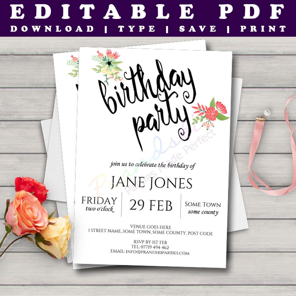 Printable Birthday Invitation Template Watercolour Floral