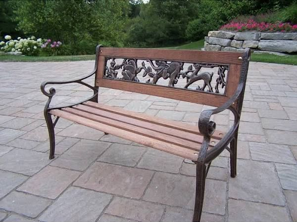 Pleasant Vintage Childs Outdoor Bench Wrought Iron And Wood Outdoor Evergreenethics Interior Chair Design Evergreenethicsorg