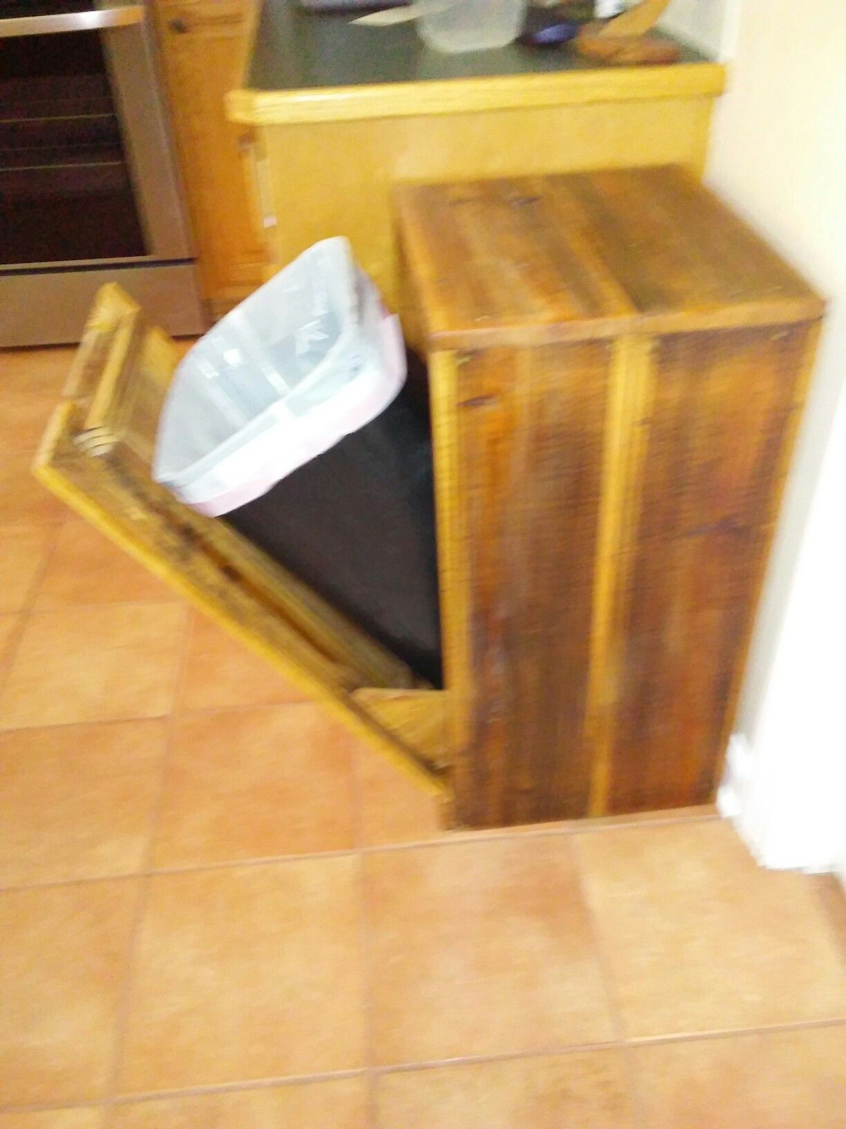 Dog proof trash can wooden trash can