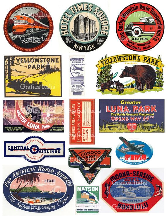 15 Large Usa Travel Stickers Retro Digital Printable By Graficaitalia Etsy Travel Stickers Printable Travel Stickers Printable Collage Sheet