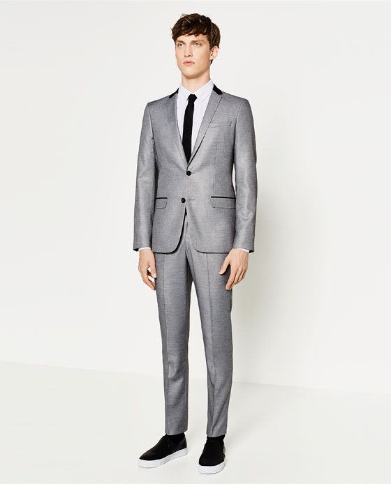 image 1 of grey contrasting suit from zara suit tie pinterest. Black Bedroom Furniture Sets. Home Design Ideas