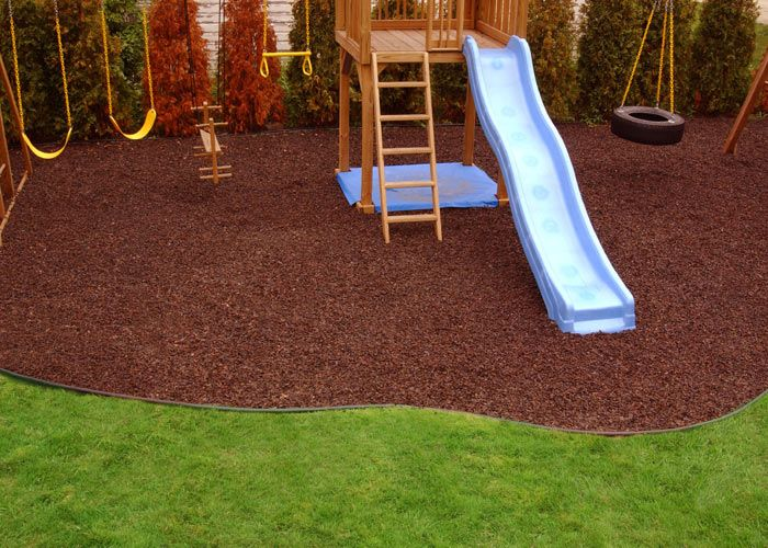 Rubber Mulch For The Children S Play Areas No Splinters Play Area Backyard Backyard Playground Rubber Mulch