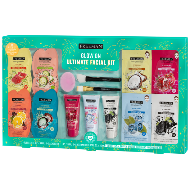 Photo of ($45 Value) Freeman Holiday Glow On Ultimate Facial Kit Fresh & Glowing Skin Facial Mask, 14 Piece – Walmart.com