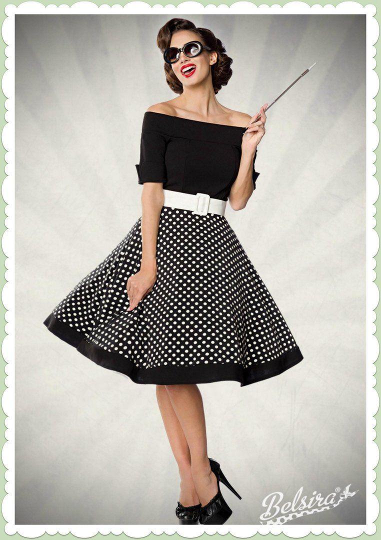 Belsira 17er Jahre Rockabilly Petticoat Kleid - Polka Dots
