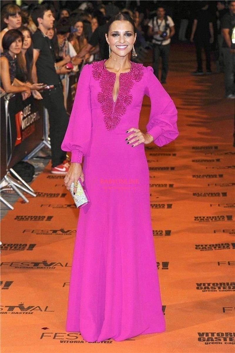 Moroccan Caftan Hot Pink Long Evening Dresses With Sleeves Saudi ...