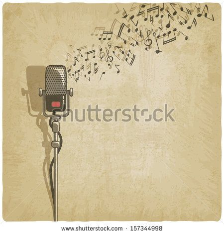 Vintage background with microphone - vector illustration by NatBasil, via Shutterstock