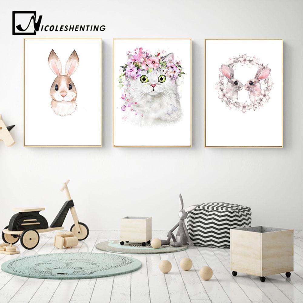 Kawaii Animal Rabbit Cat Nursery Canvas Poster Canvas Prints Wall ...