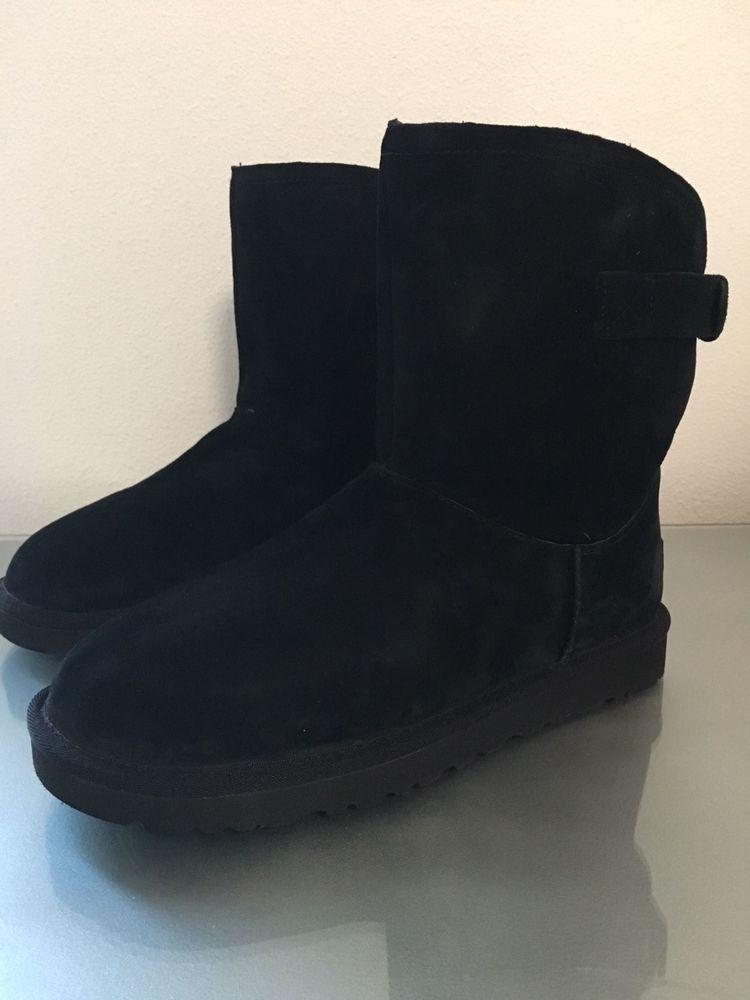 f9a1496139a New in Box UGG AUSTRALIA REMORA BLACK SUEDE SHEEPSKIN BUCKLE BOOTS ...