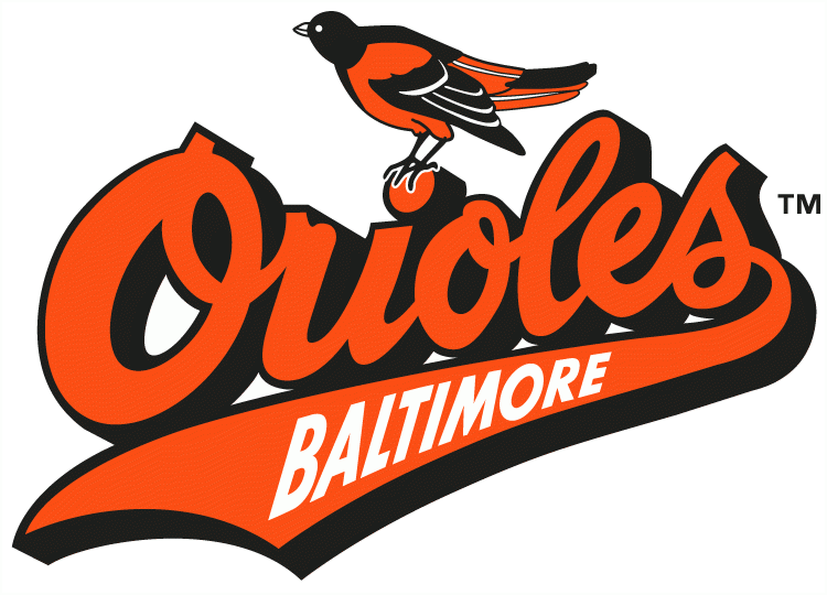 Baltimore Orioles Primary Logo 1992 1994 Oriole On Top Of Orioles Script With Baltimore Inside Sc In 2020 Orioles Logo Baltimore Orioles Baseball Baltimore Orioles