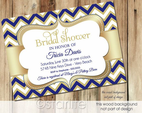 Navy And Gold Wedding Invitations: Chevron Navy Blue Gold 5x7 Bridal Shower Invitation By