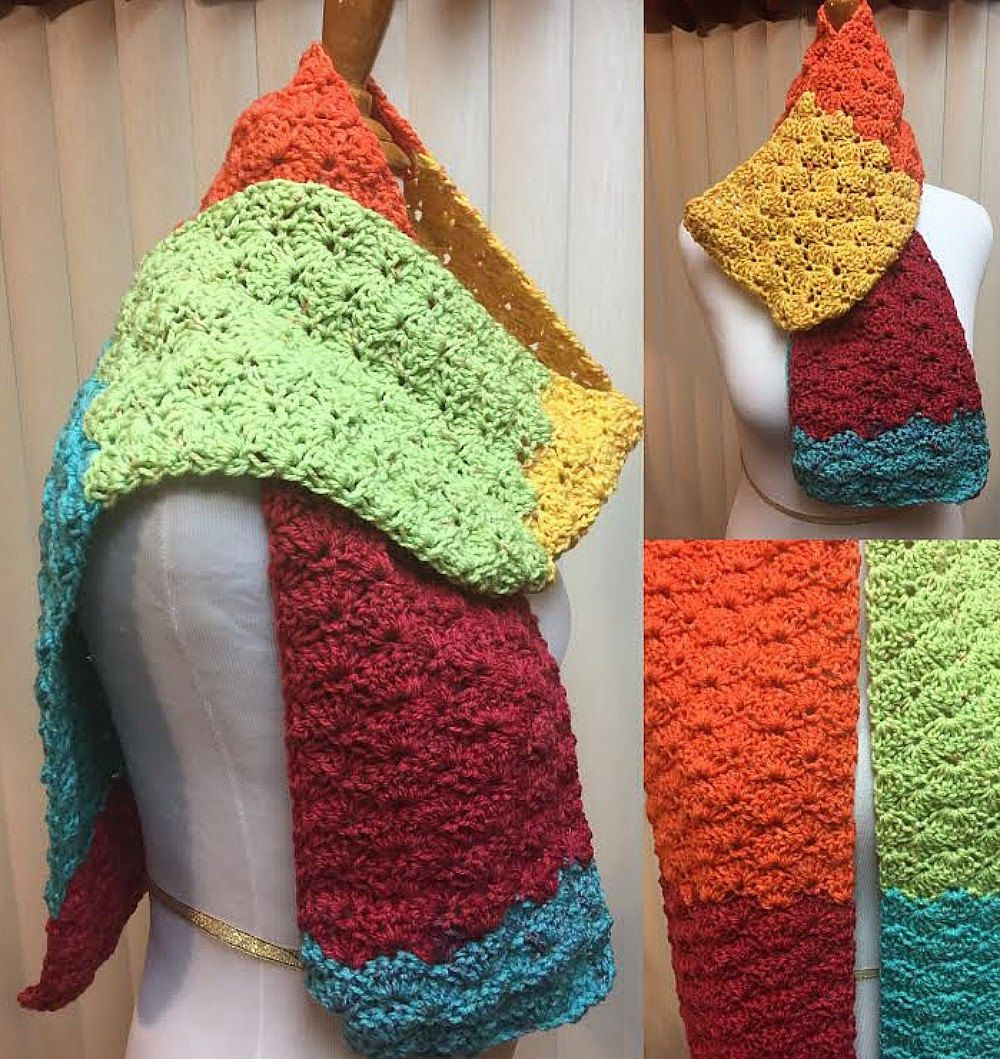 Crochet Scarf, Rainbow Colored Scarf, Shell Stitch Scarf, Multi Colored Scarf, Rainbow Scarf,  Winter Scarf, Unisex Scarf, Color Block Scarf by CozyNCuteCrochet on Etsy