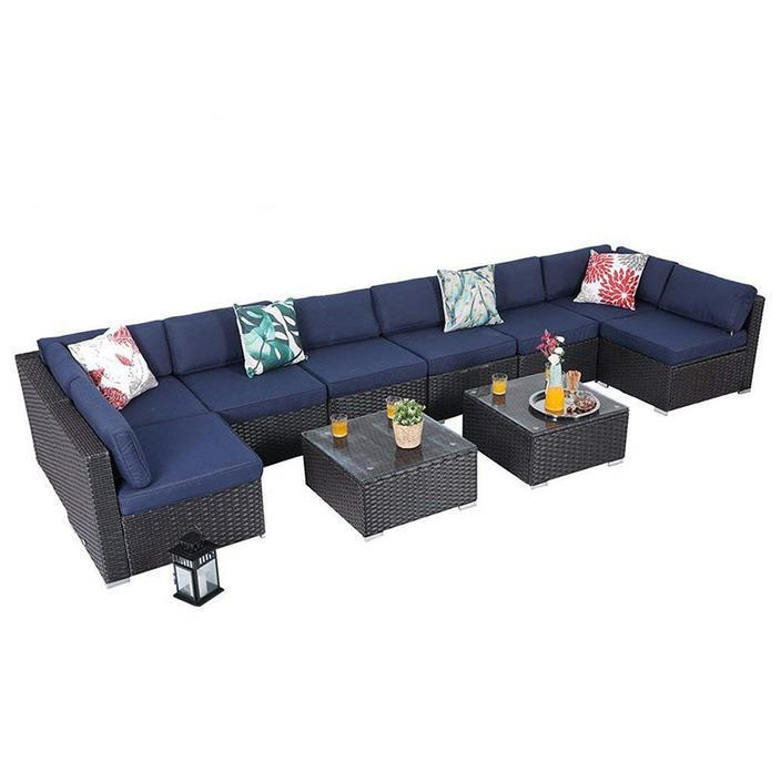 Phi Villa Patio Sectional With Cushions Rattan Outdoor Sectional