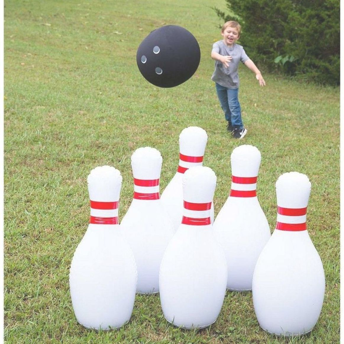 Giant Inflatable Bowling Game For Kids Use Backyard Game Indoors Or Outdoors Hearthsong Bowling Games For Kids Bowling Games Backyard Games Kids