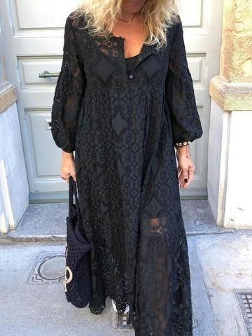 Ankle-Length Hollow Nine Points Sleeve A-Line Plain Dress