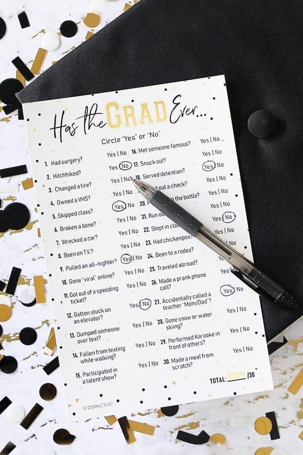 Has the Grad Ever - Graduation Party Game - 25 Player Cards #graduationparties