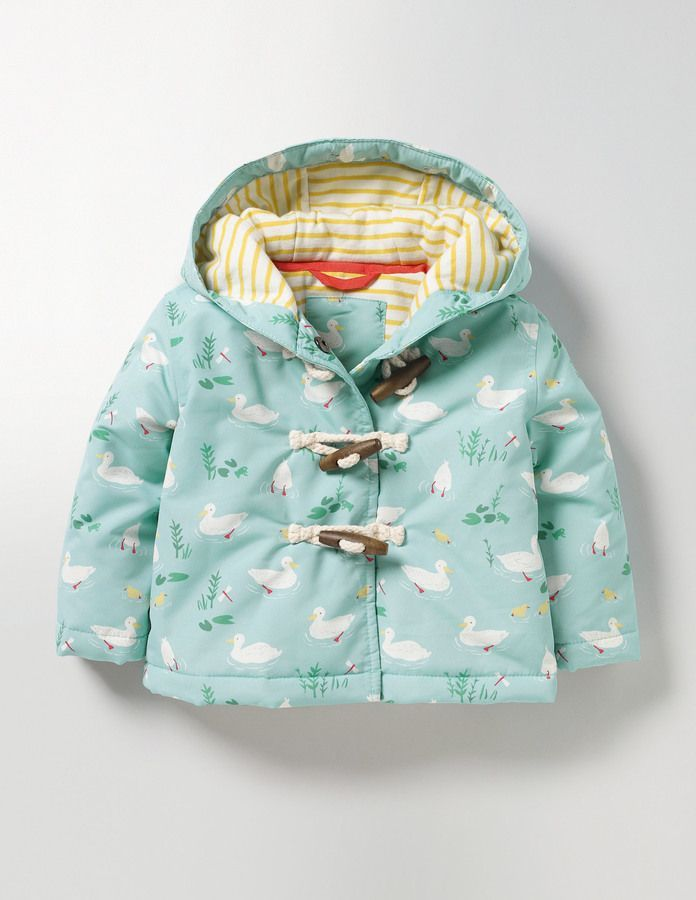 0209b11a7 Ducks Printed Duffle Coat from Boden. I love the contrasting print in the  hood! (affiliate)