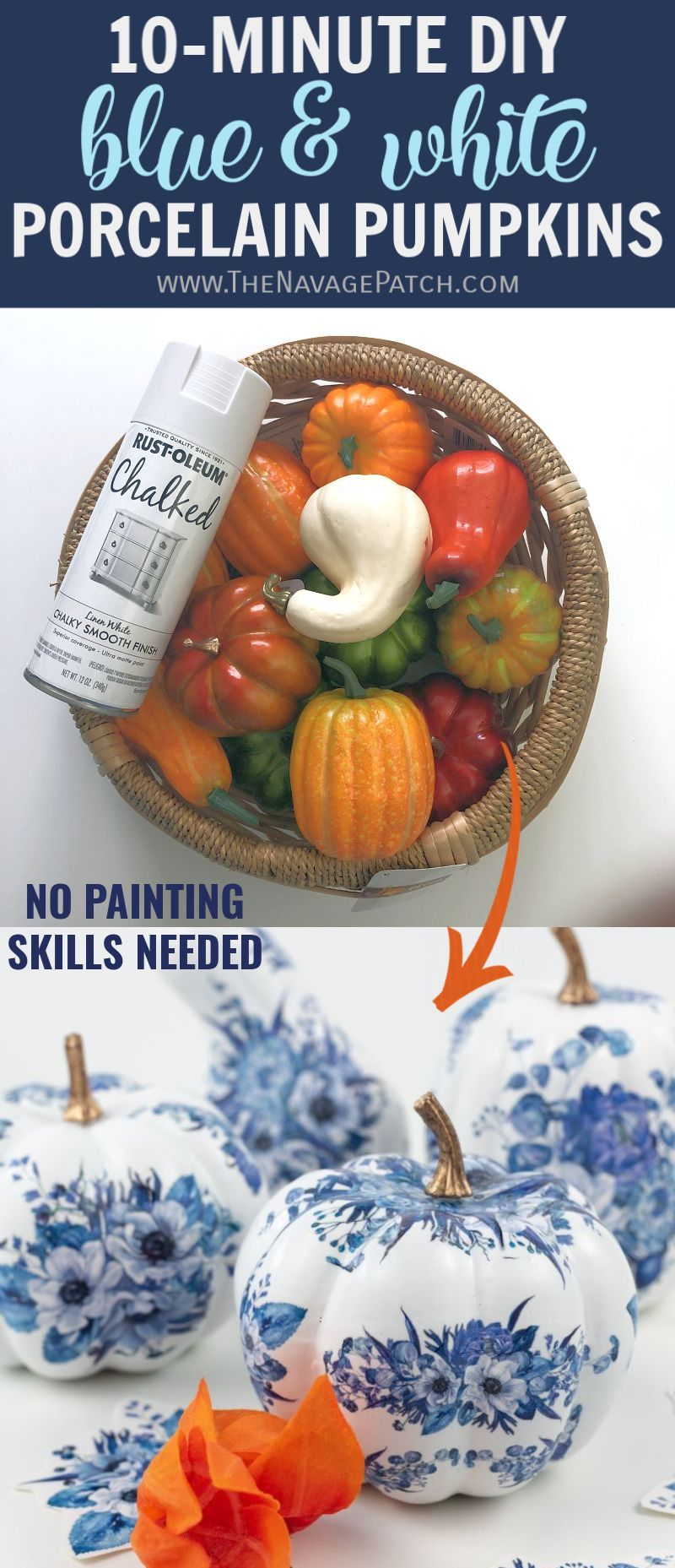 Diy dollar store blue white porcelain pumpkins diy