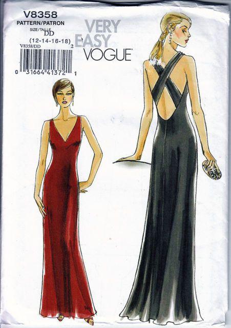 Vogue 8358 Stunning Cross Back Evening Dress Sz 12 14 16 18 Sewing Pattern | eBay