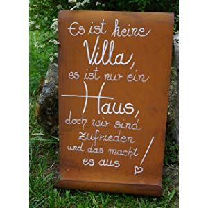 Edelrost Tafel mit Welle Spruch Villa Eingang Gartendekoration #dekoeingangsbereichaussen