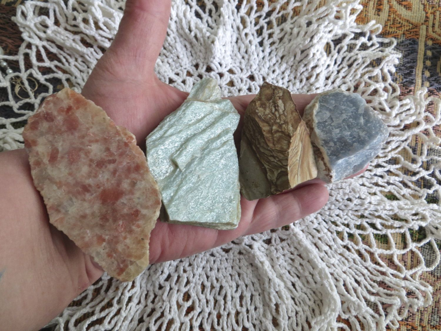 lot of XX large rough stones - angelite, india sunstone, picture jasper, fuchsite (green muscovite) by homesteadhippie on Etsy