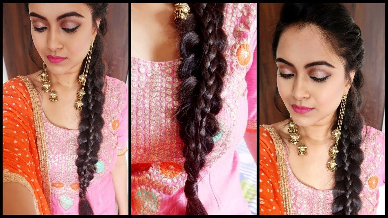 Supereasy Braid Hairstyle Punjabi Braid Look For Indian Party Wedding Guest Youtube Punjabi Hairstyles Guest Hair Wedding Guest Hairstyles