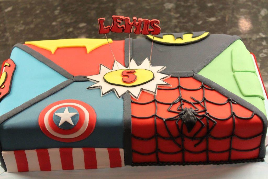 Marvel Cake sections represent SpiderMan Captain America Hulk