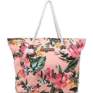 Rip Curl Paradise Fl Print Beach Bag Womens Handbags Peach One