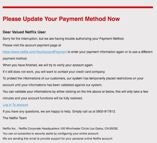 Final Reminder Update Your Payment Details Netflix Phishing Netflix Users Netflix Reminder