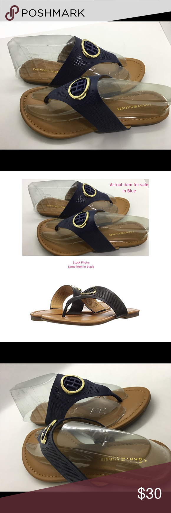 5146cea55fe2 Tommy Hilfiger Sallio Blue Slip Flat sandals NWOB Synthetic Rubber sole  Heel measures approximately 0.5