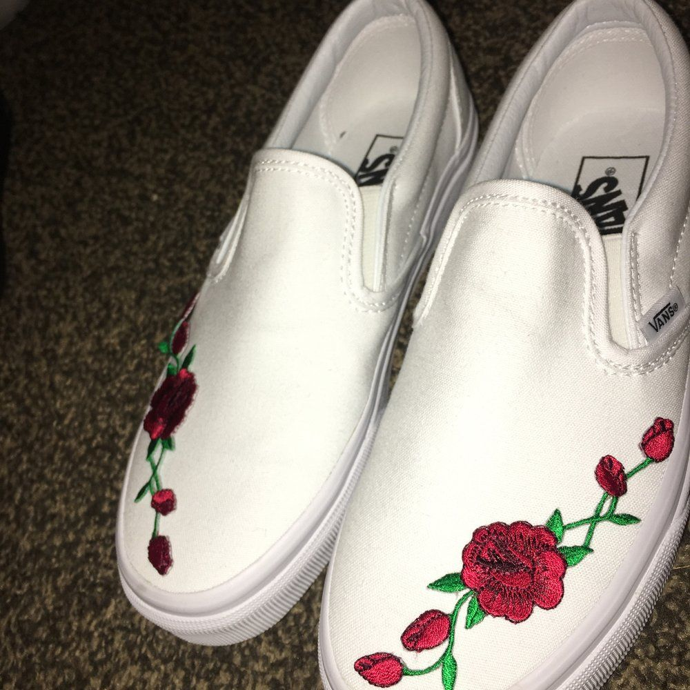 046d76be1be9 Image of LIMITED EDITION All White Slip-On with Red Rose