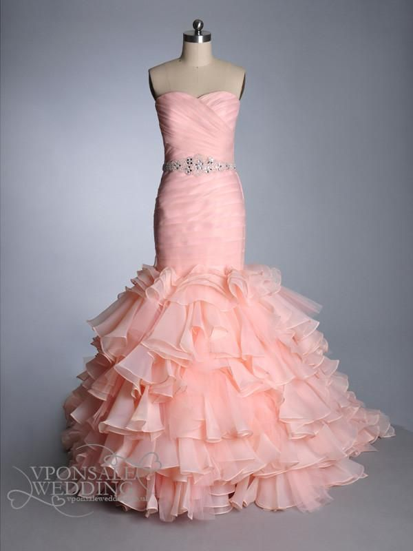 Resplandor de la sirena vestidos de novia de color rosa de organza ...