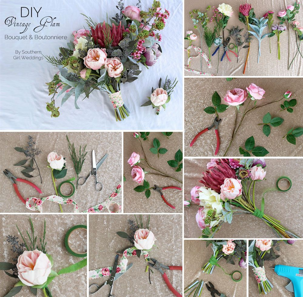 Www Afloral Com Silk Wedding Flowers: Vintage Glam Bridal Bouquet. Made With Premium Quality