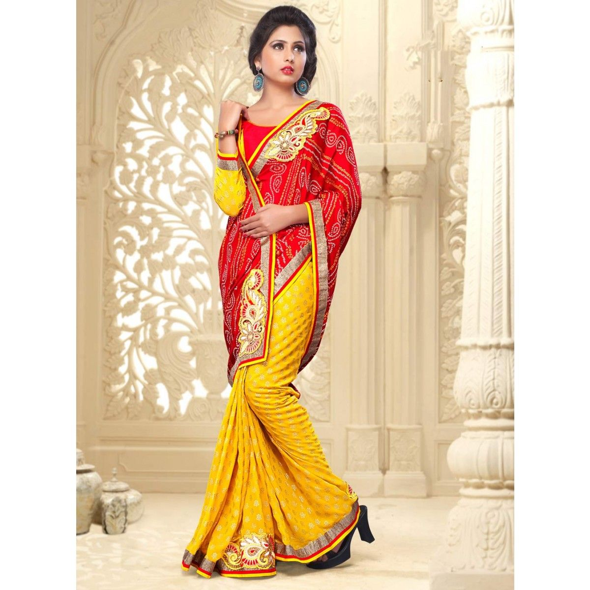 Yellow and Red Georgette Designer #Saree With #Blouse